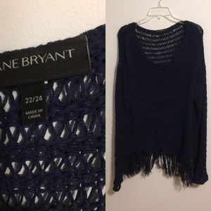 Lane Bryant Navy Crochet/Knit Sweater with Fringe